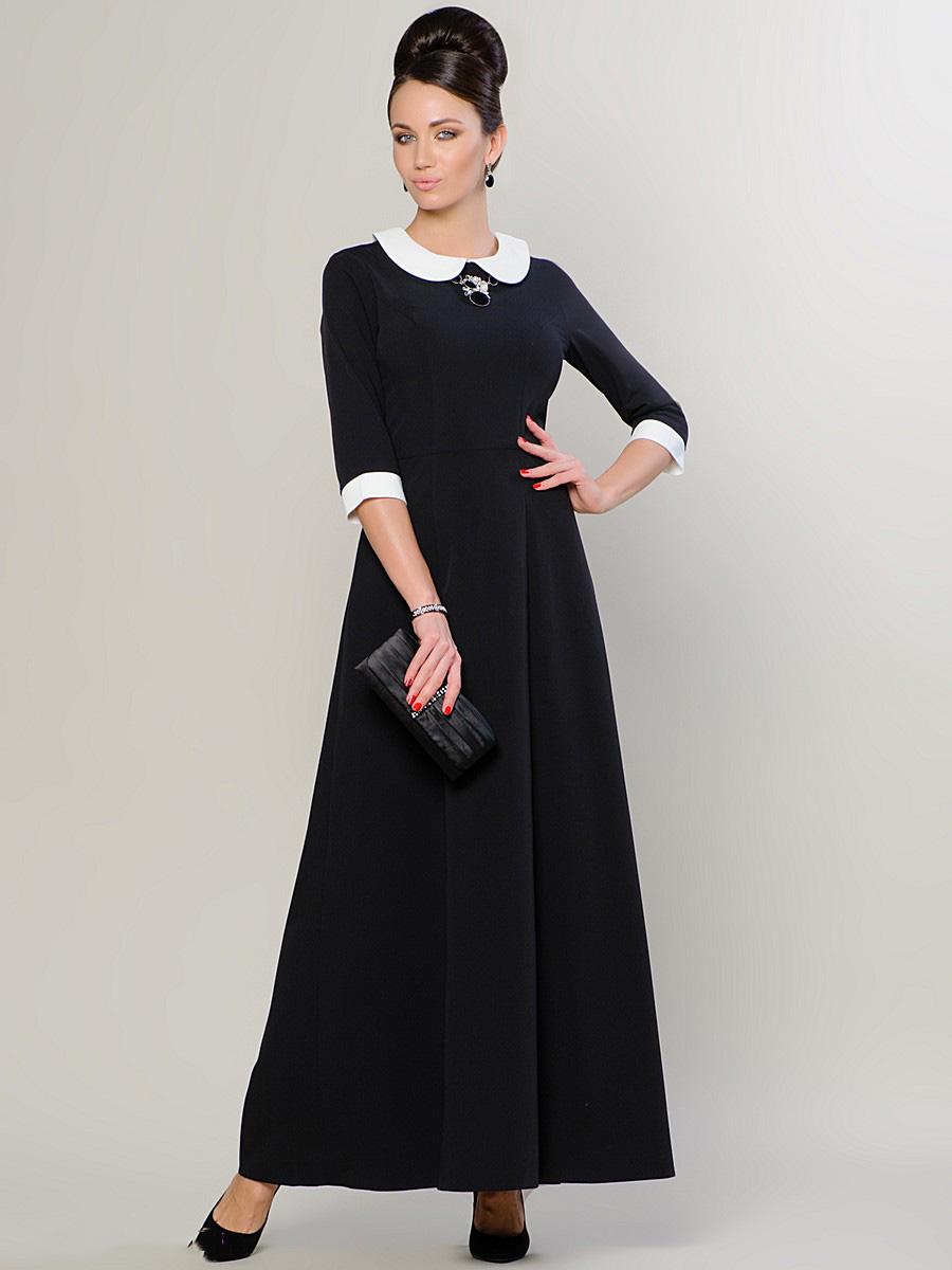 Чёрные длинные платья с белым воротником