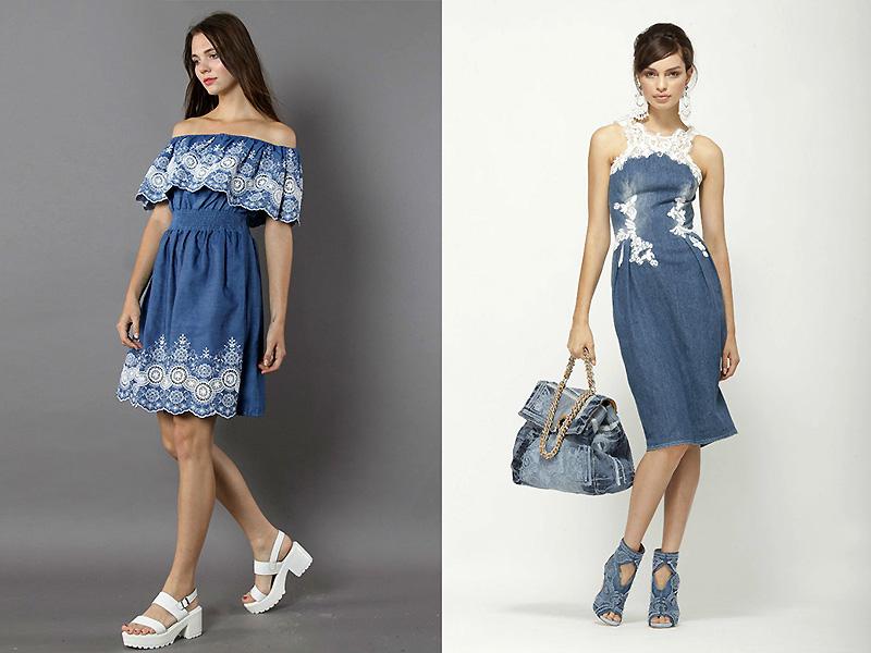 Джинсовые платья с шитьем