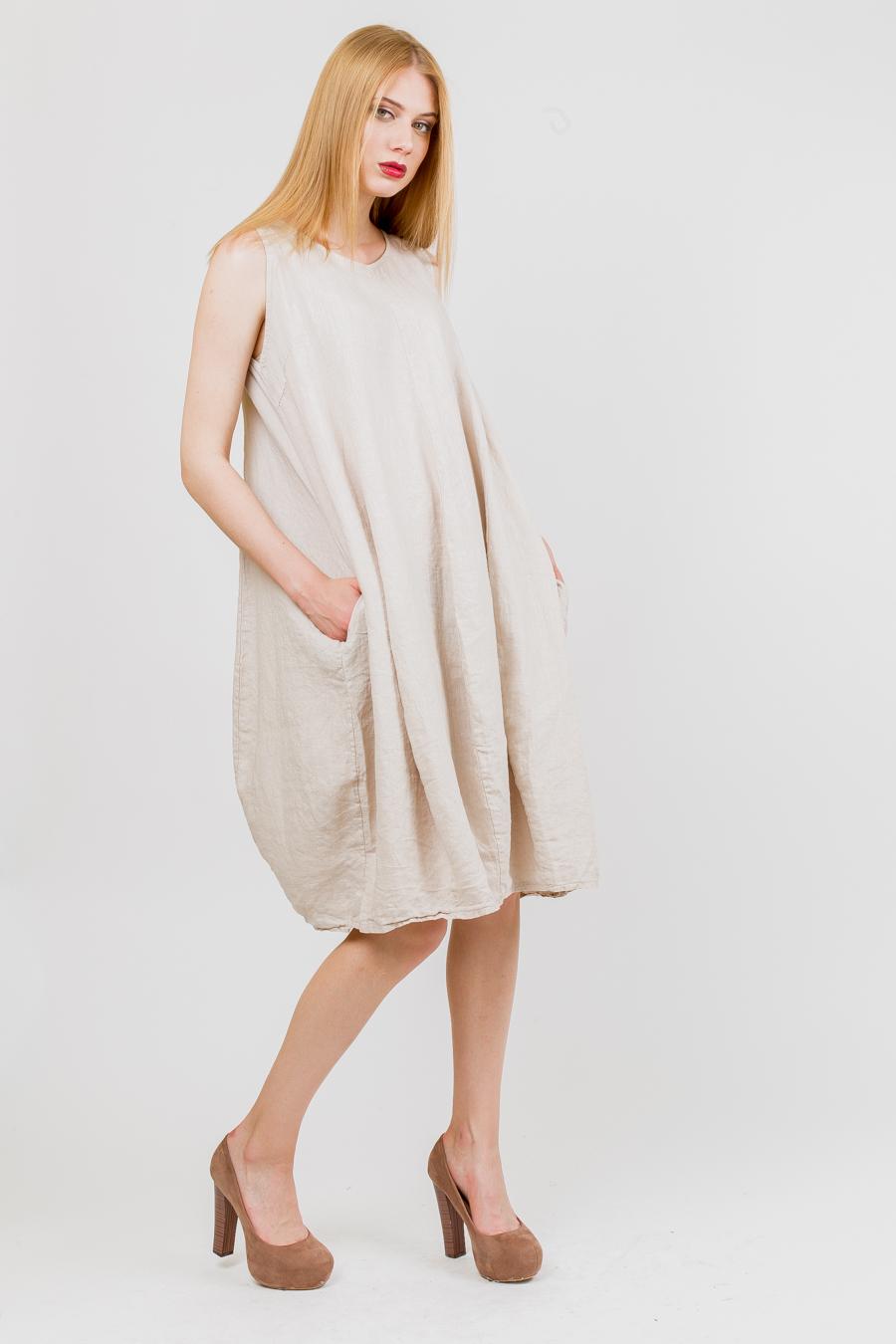 Фасон льняного платья для полных