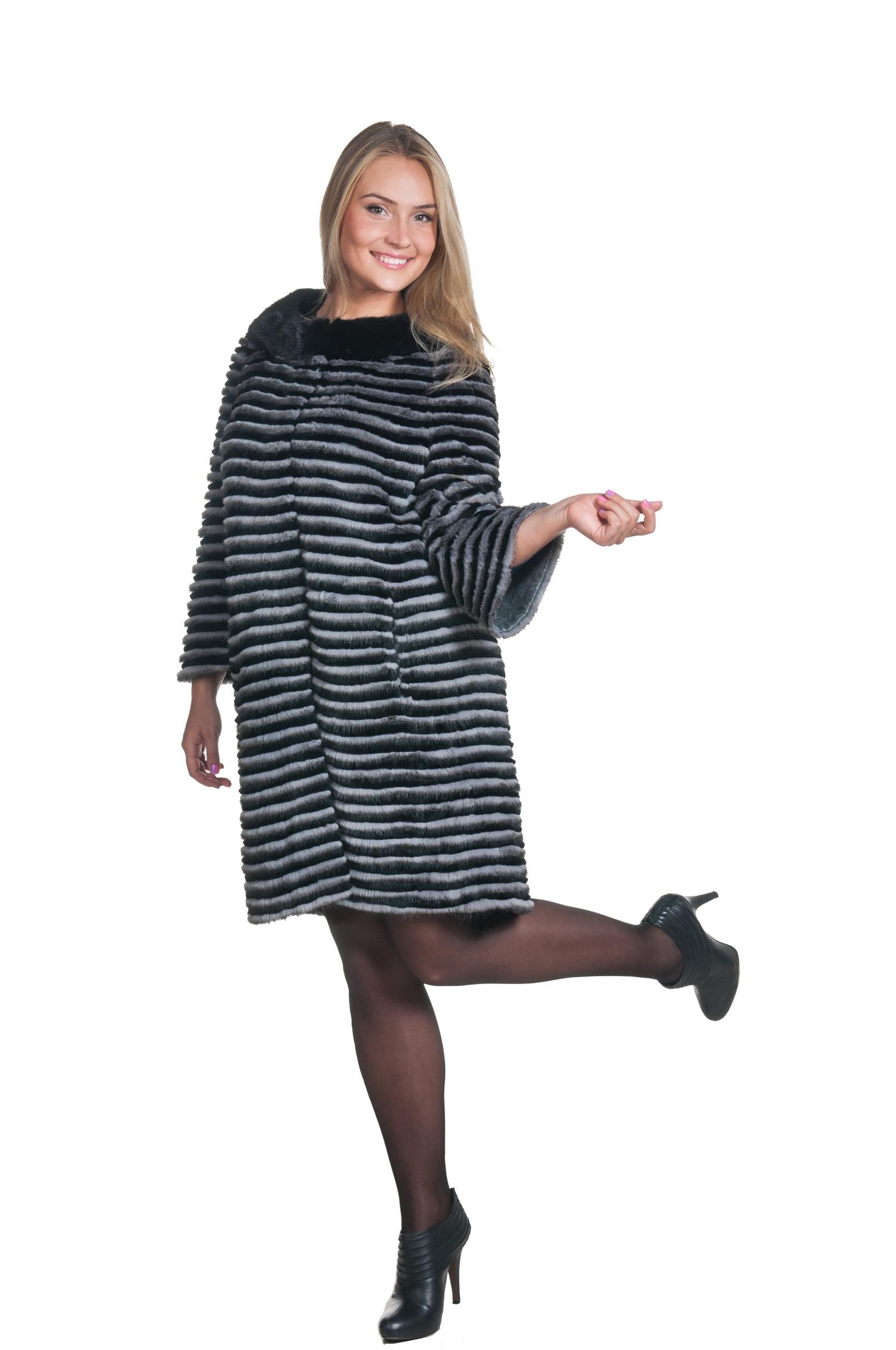 фото пальто из вязаной норки