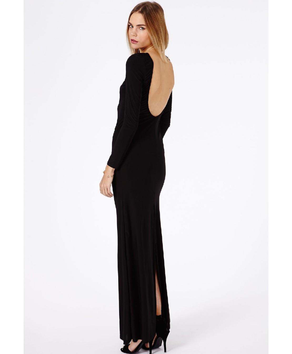 Фото платьев с длинным рукавом и открытой спиной