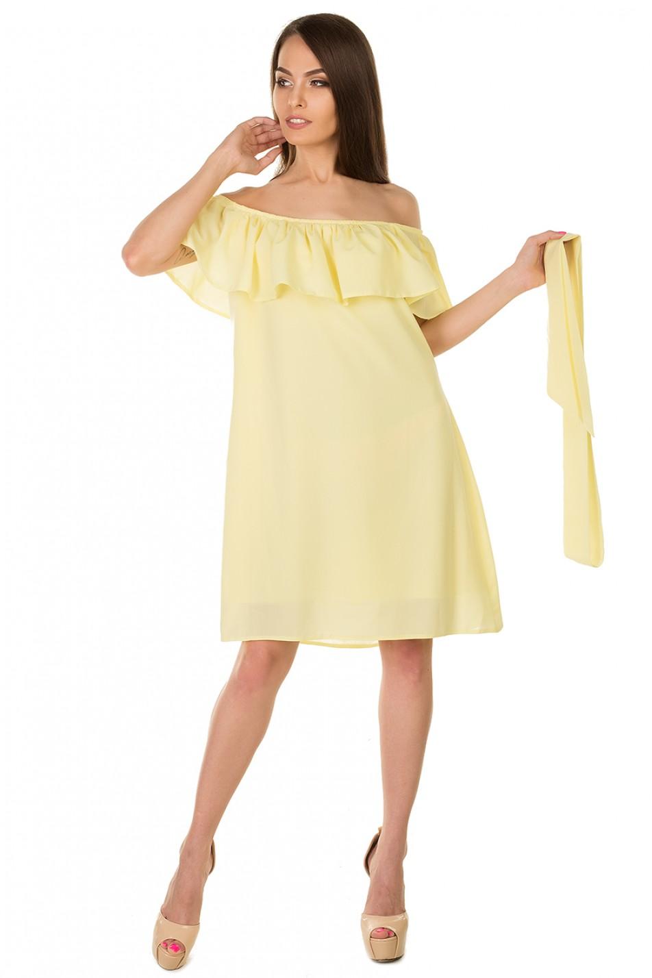 Как сшить платье с воланом на плечах фото