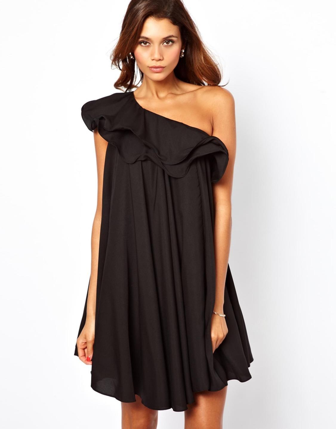 Сшить платье на одно плечо с воланом фото