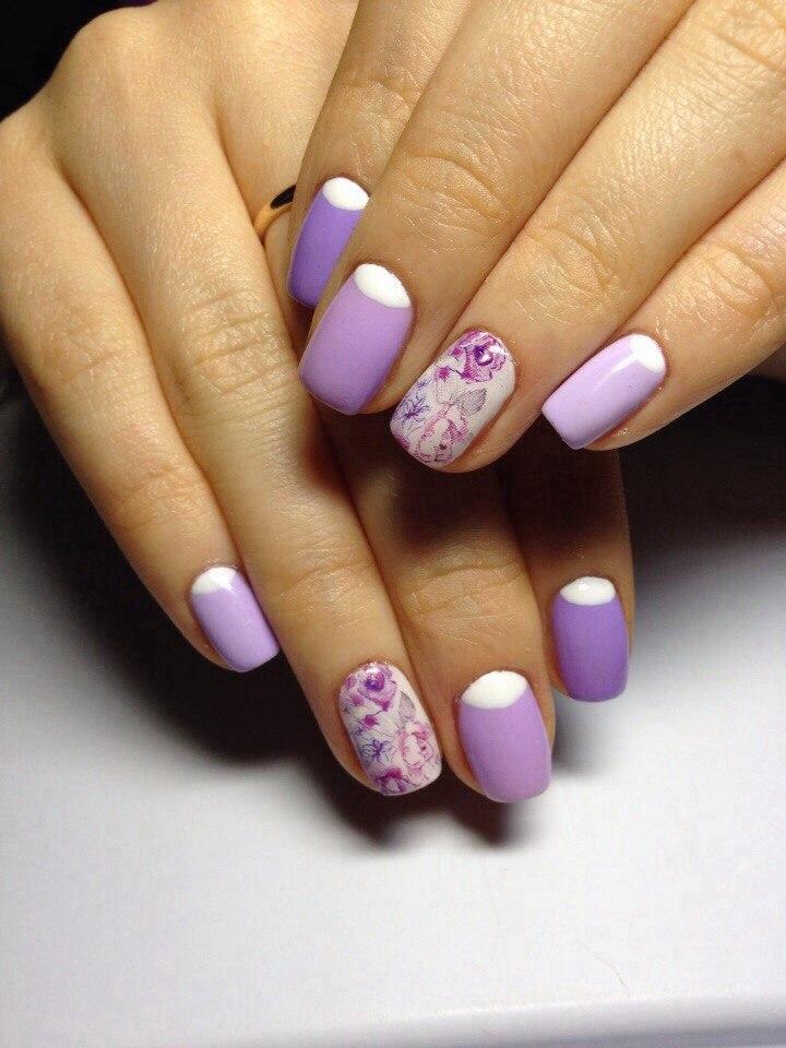красивый маникюр с фиолетовым лаком фото