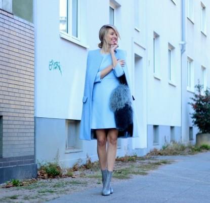 синее короткое пальто с чем носить фото