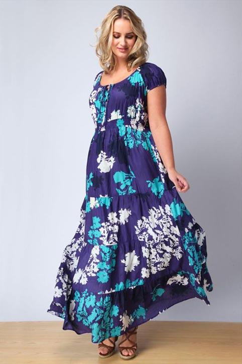 Длинные сарафаны и платья для полных