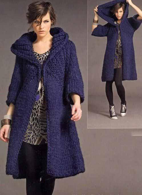 Вязаное пальто своими руками для полных