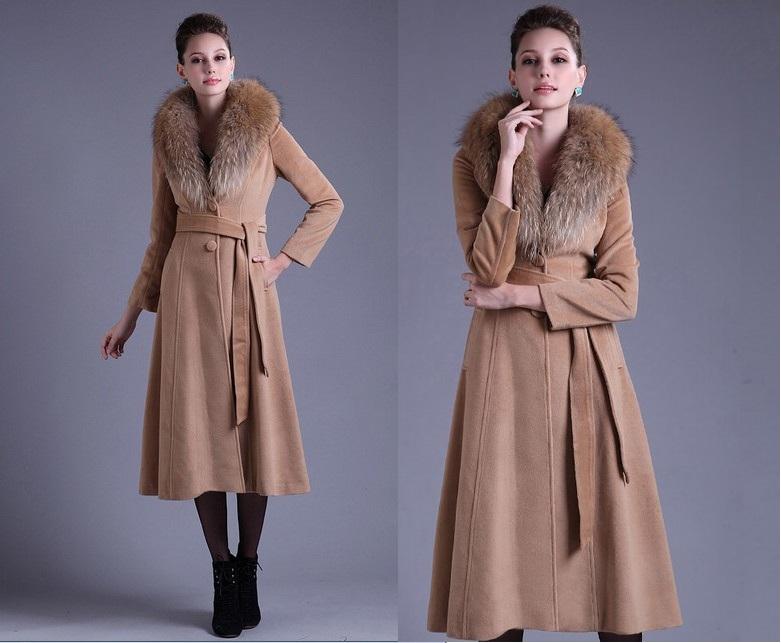 2819949202c Зимнее кашемировое пальто с меховым воротником (34 фото)