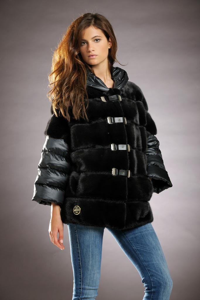 куртка с норкой комбинированная фото