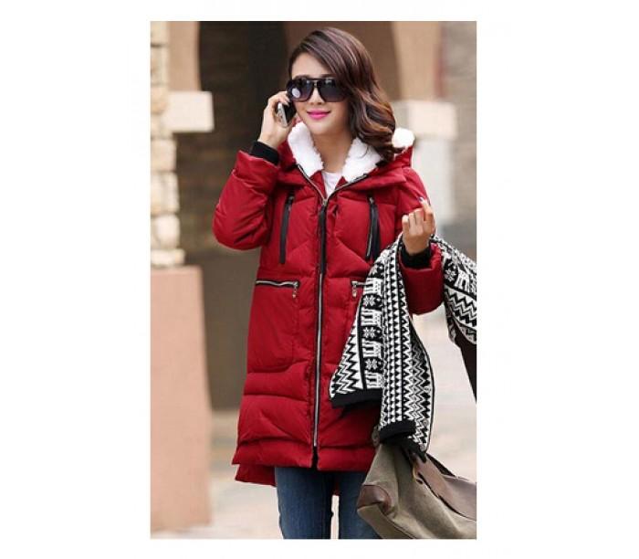 красная зимняя куртка с чем носить