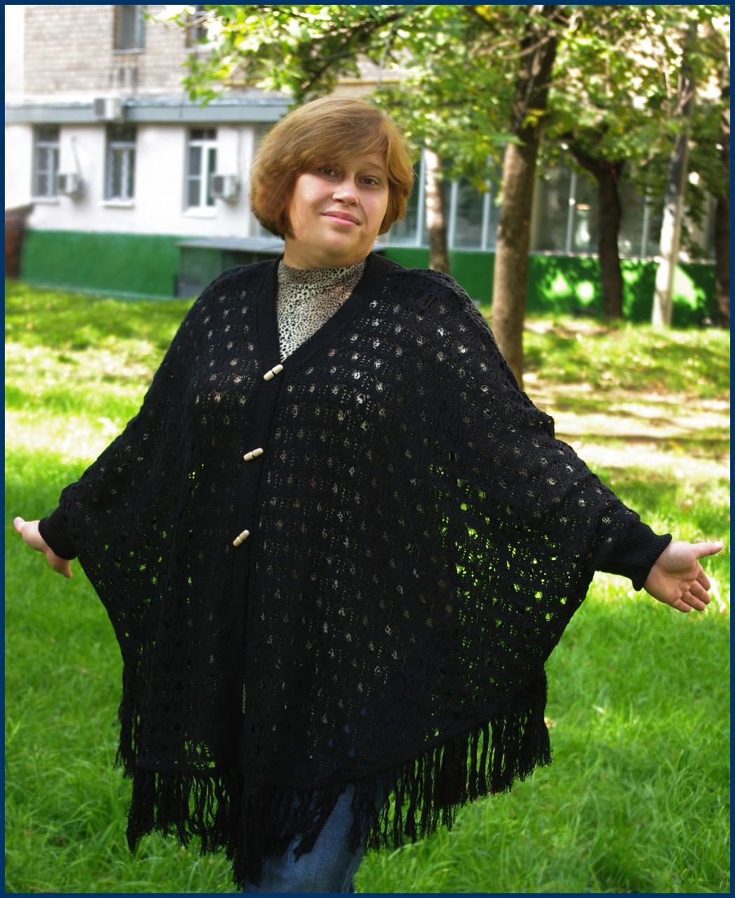 Вязание для полных спицами пончо 65