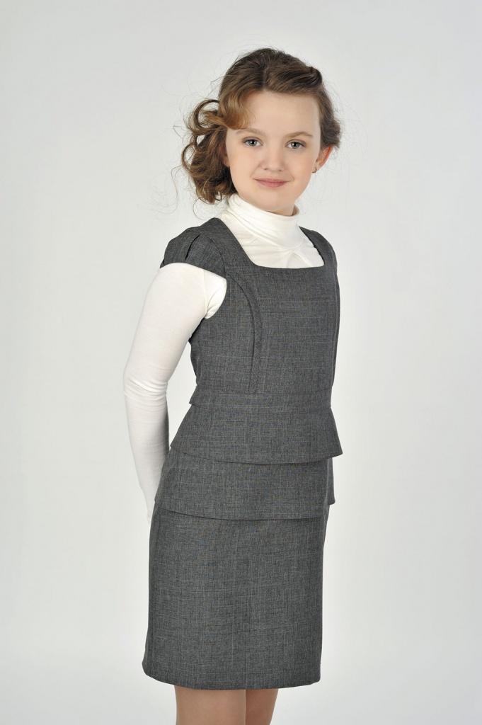 Школьные сарафаны для девочек (108 фото)  форма, модели и фасоны, для  старшеклассниц, серые, 7, 10, 12, 13 лет b9f941b0f7a