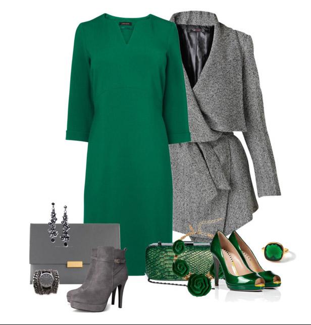 Платье зеленого цвета с туфлями