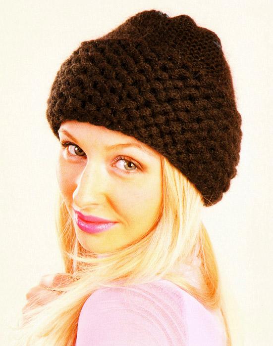 Вязание женской спортивной зимней шапки спицами 72