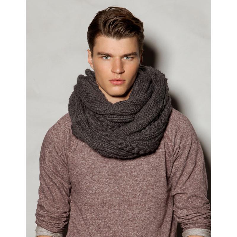 Мужской вязаный шарф фото