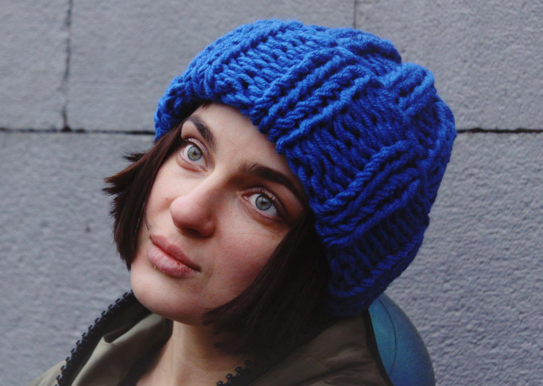 Вязание спицами шапка с отворотом английской резинкой спицами 7