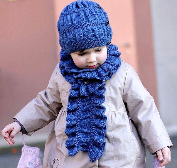 Вязание шарфа для девочек спицами