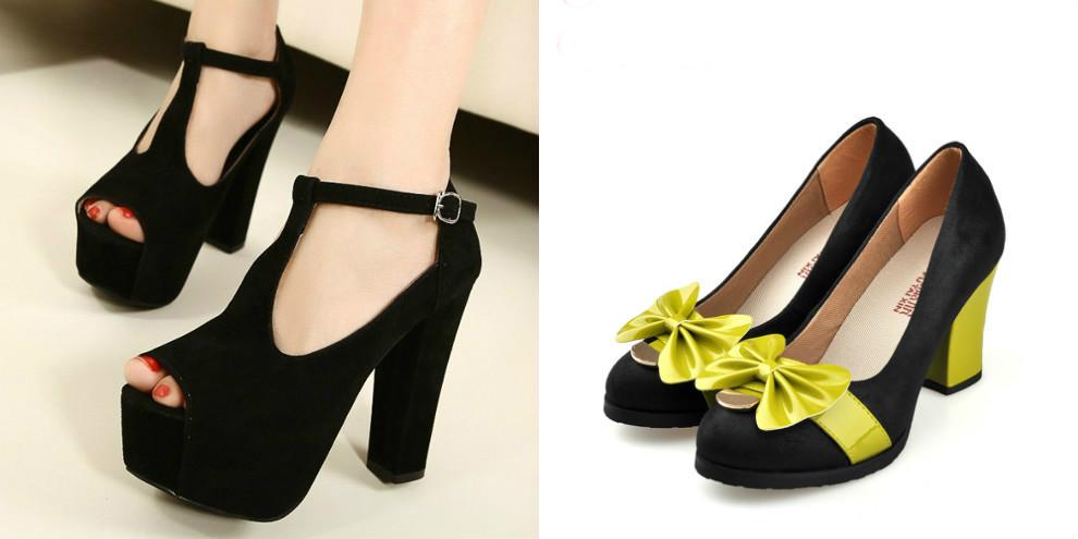 Модные черные туфли на толстом каблуке