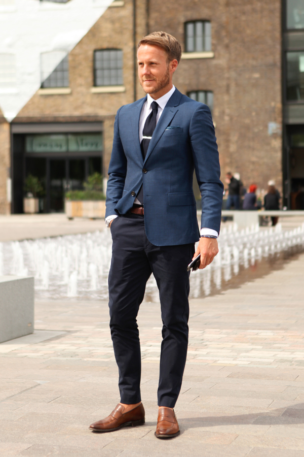 Dark blue suits with brown shoes