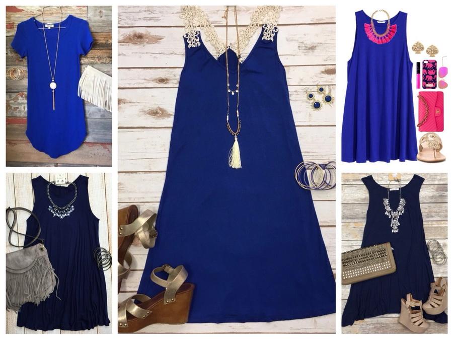 Синее платье и наиболее подходящие украшения к нему