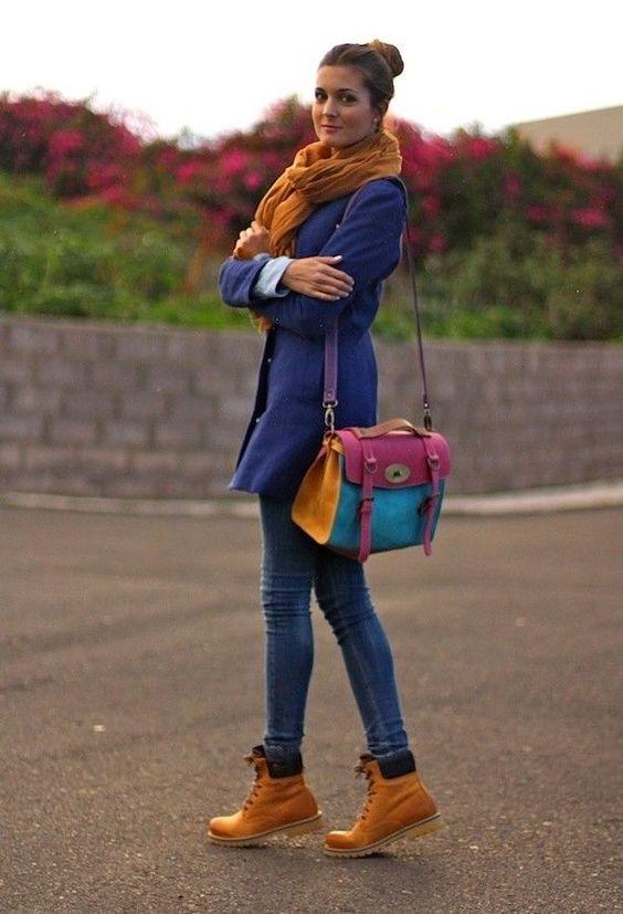 Женские рыжие ботинки с чем носить