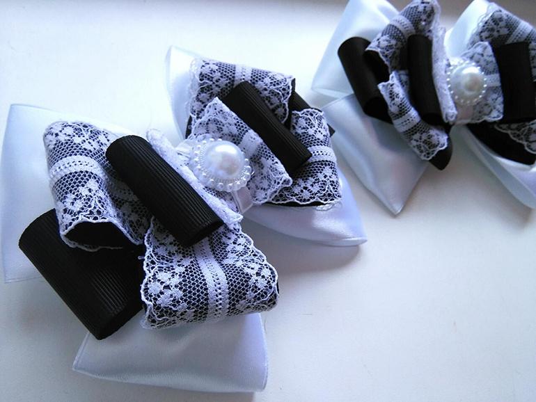 Галстук канзаши для девочки своими руками фото