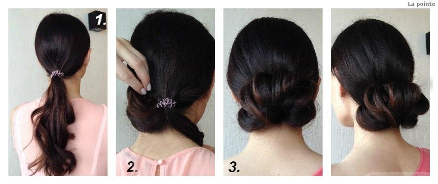 Легкая прическа с помощью резинок для волос