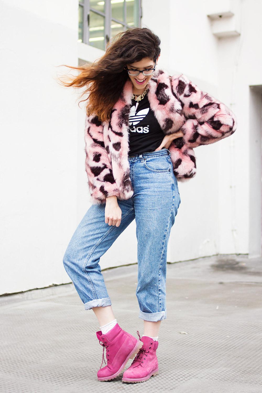 С чем носить розовые тимберленды девушкам фото