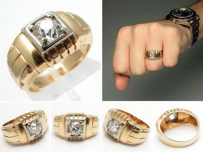 Обручальные мужские кольца с бриллиантами