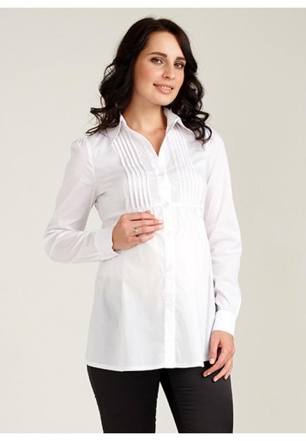 Офисная белая рубашка для беременных и кормящих (48.50Р)