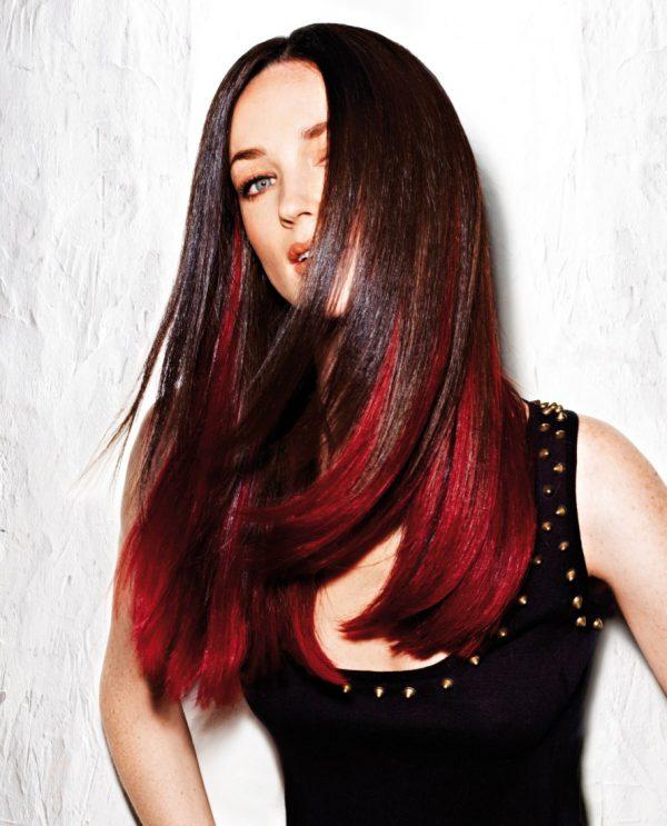 темные волосы покрасить в красный