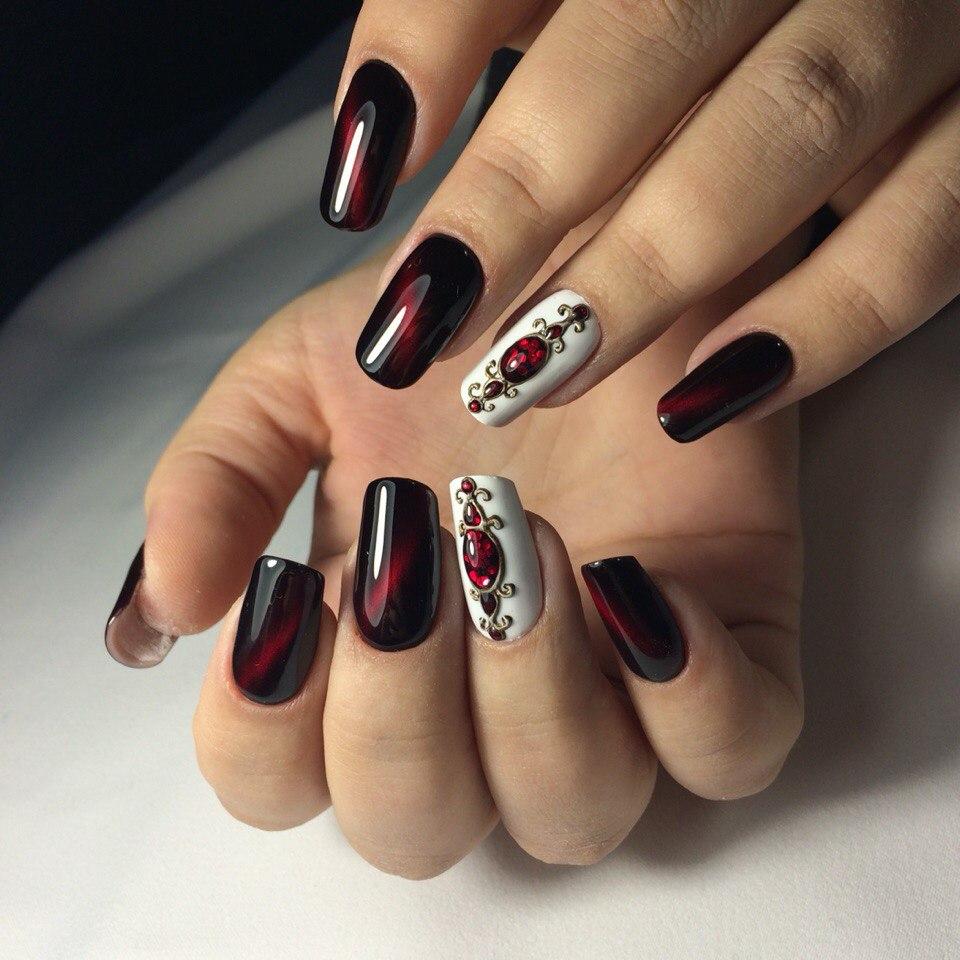 Дизайн ногтей бордовый цвет фото острые ногти