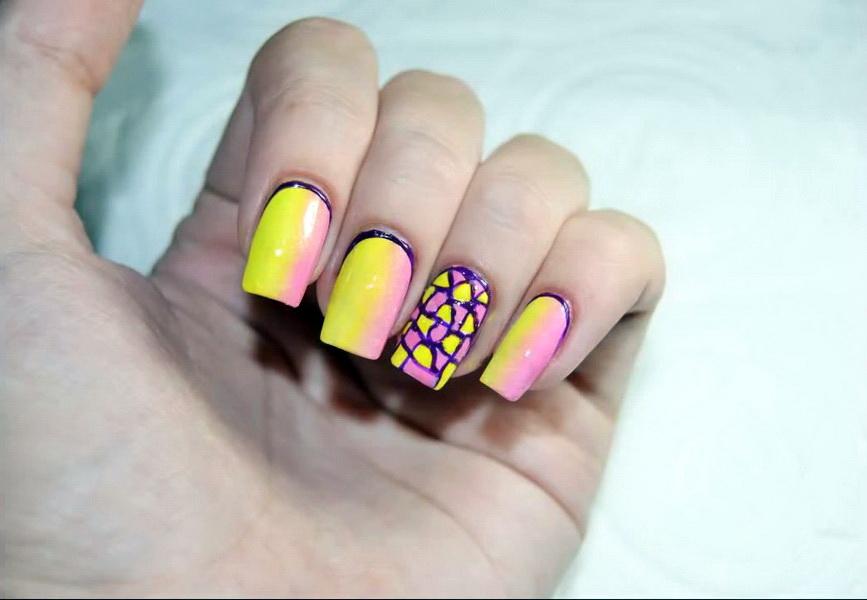 Градиенты на гелевых ногтях
