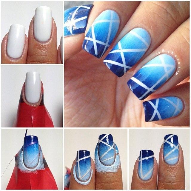 Синий Дизайн ногтей с декоративными лентами 20