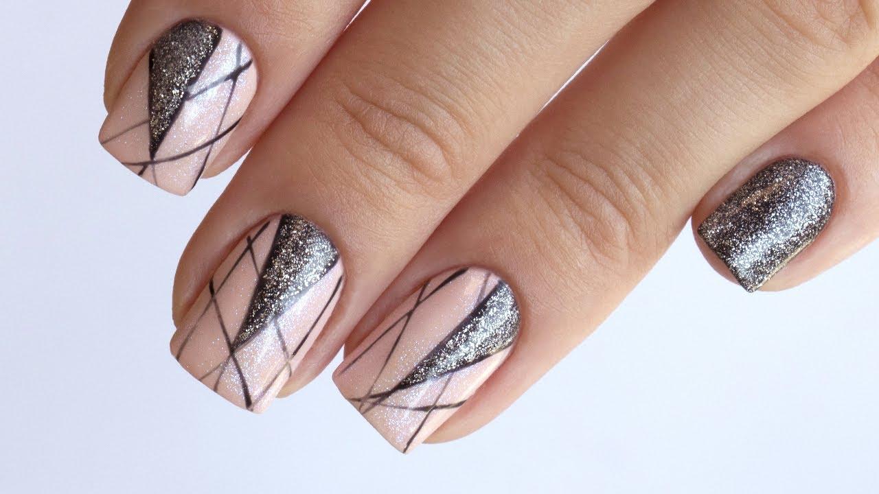 Наращивание ногтей гелем с блестками фото пошагово