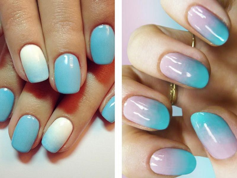 Градиент голубой белый на ногтях