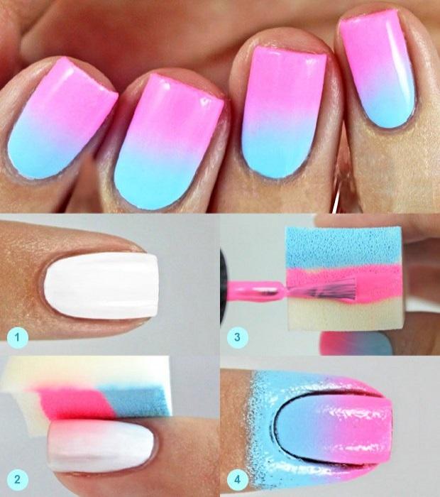 Дизайн ногтей губкой пошаговое фото