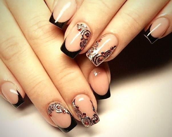 Дизайн ногтей френч с узором