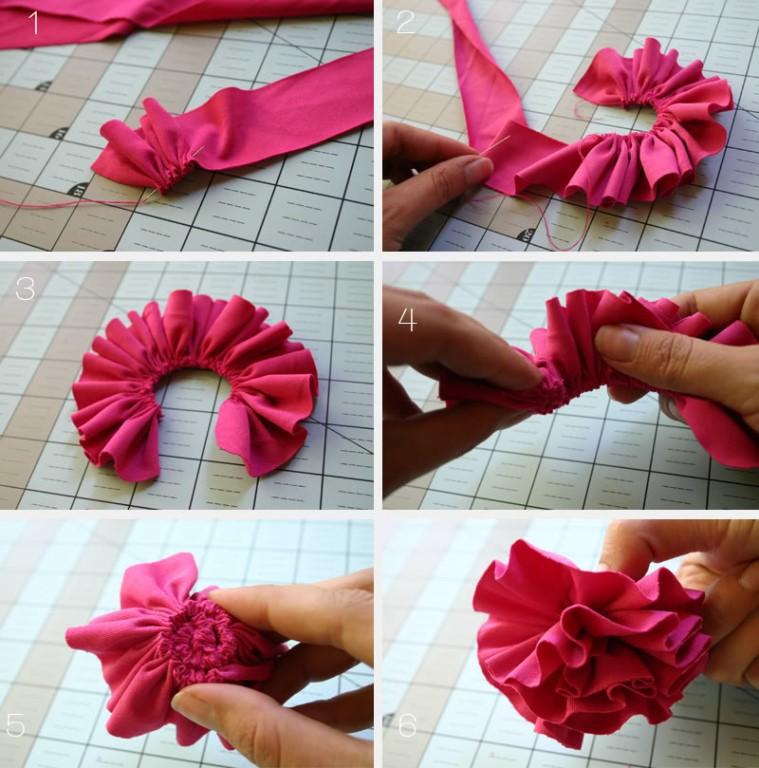 Как сделать из материи цветок