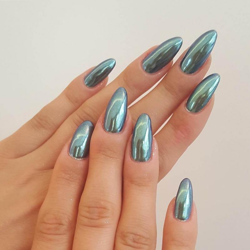 Втирка для ногтей зеркальный блеск дизайн 2017