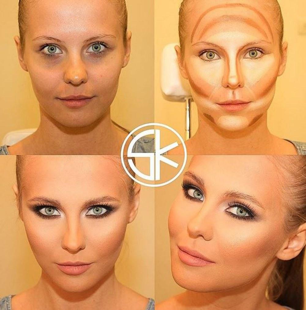 Как при помощи макияжа сделать лицо уже с помощью макияжа