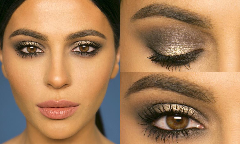 Макияж для карих глаз и темных волос с нависшим веком