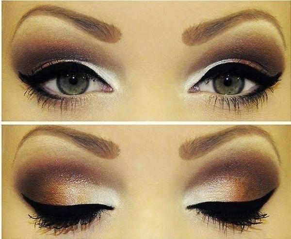 Фото макияжа с коричневыми тенями