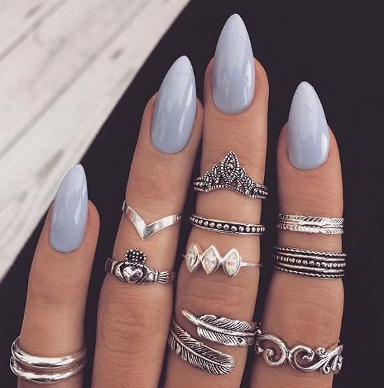 Ногти миндальная форма матовые
