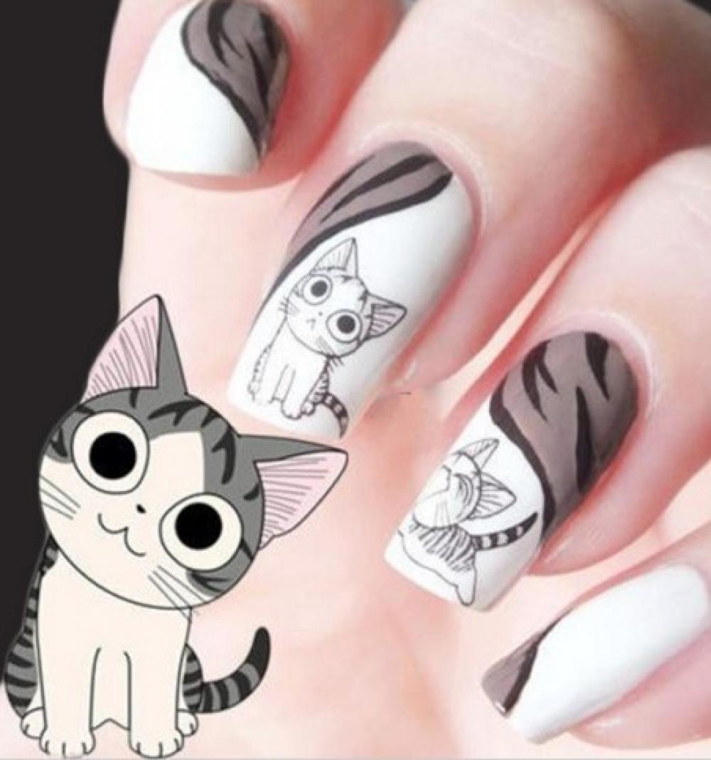 Рисуем на ногтях кошку фото