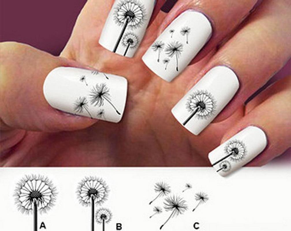 фото одуванчики на ногтях