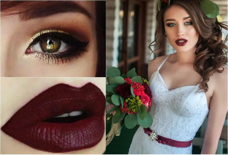 Винная помада свадебный макияж