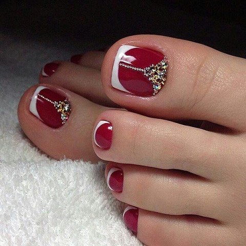 простой дизайн ногтей на ногах 5