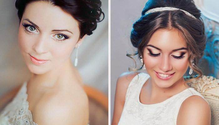 Свадебный макияж для шатенок с голубыми глазами фото
