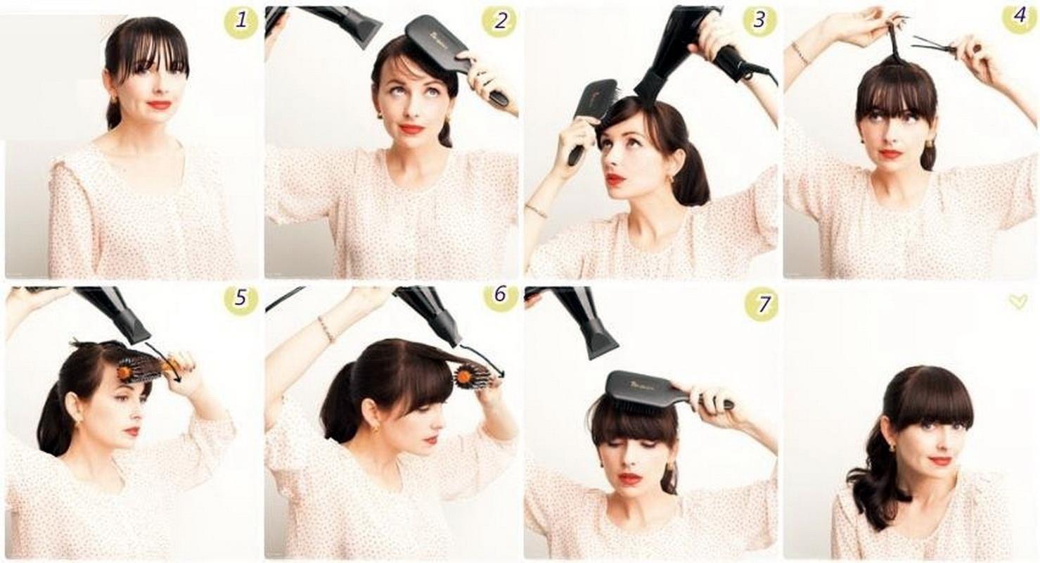 Как красиво сделать челку с длинными волосами